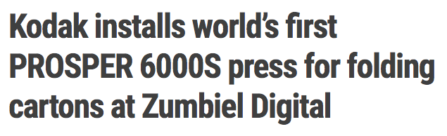 Kodak installs world's first PROSPER 6000S press for folding cartons at Zumbiel Digital